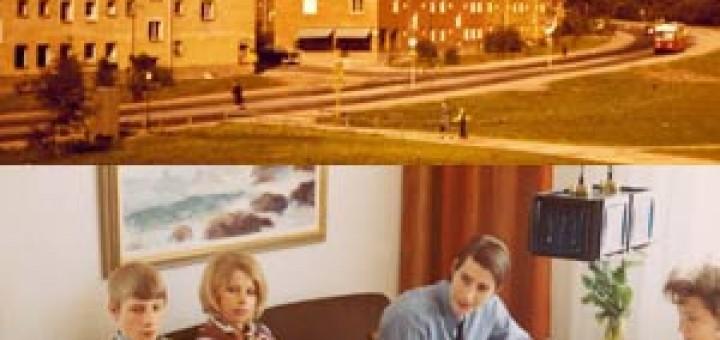 Fyra bilder: Bild 1: Brandkåren på väg in i Nackareservatet. Lika spännande då som nu. (Foto: Arnold Palm 1957) Bild 2: Buss 79 på Malmövägen. (ca 1956) Bild 3: Konfirmationsfika på Svalövsvägen hos familjen Wahlberg. (1969) Bild 4: Buss 79:s hållplats i Björkhagen. (foto:Arnold Palm, 1951)