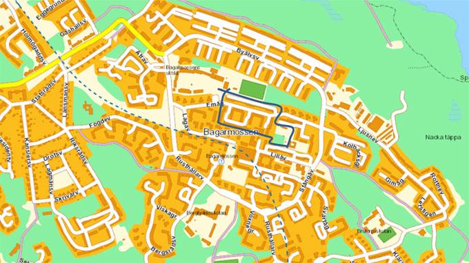Lilla Bagisloppet: Bansträckning för barn, 0,9 km per varv, 2 varv 1,8 km