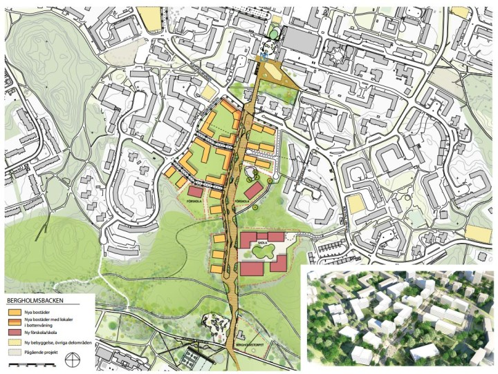 Begholmsbacken. Ett nytt cykel-promenadstråk leder från Bagarmossens centrum till Skarpnäcksfältet. Bergholmsskolan rivs, två nya förskolor och en ny skola byggs +plus 500-550 nya lägenheter.
