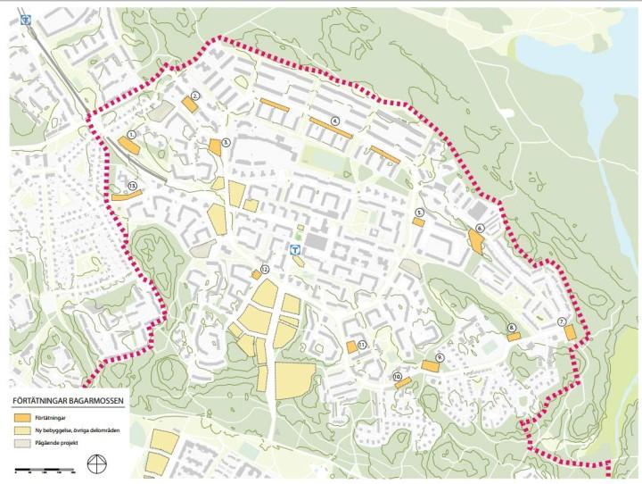 Förtätningar i Bagarmossen: Möjligheten att placera ut fler hus i Bagarmossen ska utredas. Här är de förslag som finns med i planen.