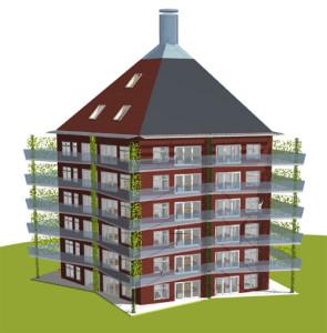 Hållkollbos förslag på ett hållbart kollektivhus i trä.