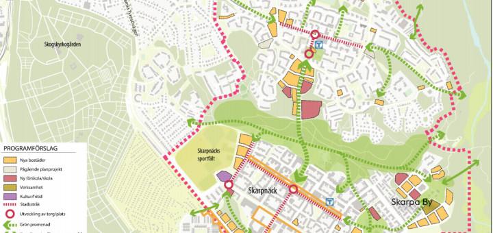 Här har vi en översikt över hela området. Gula byggnader är nya bostäder, röda nya förskolor och skolor. Lila är en ny simhall. Som ni ser finns inga planer just nu på att bygga en ny väg mellan Bagarmossen och Skarpnäck.