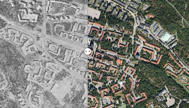 Eniros nya tjänst gör det möjligt att se hur vår stad såg ut från luften på 1960-talet.